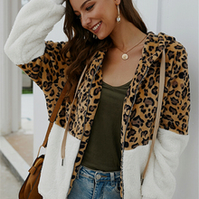 Leopard Patchwork Female Autumn Jackets Ladies Long Sleeve Hooded Zipper Up Outw