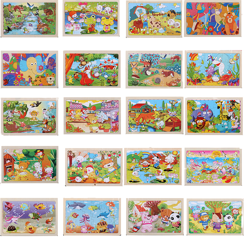 A Set Of 20 Pieces 22.5 * 15 Cm Wooden Large 24 Cartoon Animal Baby Puzzle Children Wooden Educational Toys Girl Boy