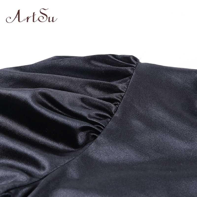 Artsu kobiety Sexy czarna plama bluzka z golfem body długi rękaw bufka body topy kobiece Party krótkie śpiochy body