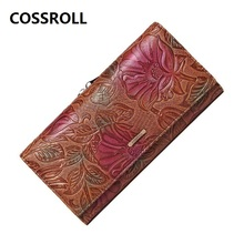 women wallets genuine leather lady purse long floal female wallet luxury designer real purses