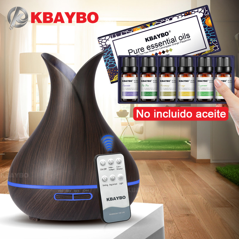 400ML Remote Control Ultrasonic Wood Grain Humidifier Aromatherapy Aroma Essential Oil Diffuser For Home Baby 6 Kinds Fragrance