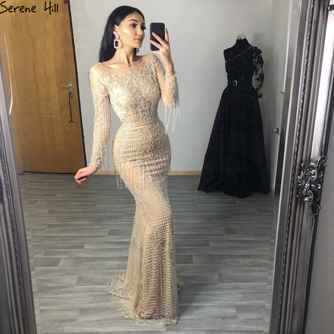 Serene Hill Gold Luxury Beaded Tassel Evening Gown 2021 Mermaid Long Sleeves O Neck For Muslim Women Formal Party Dress CLA60707