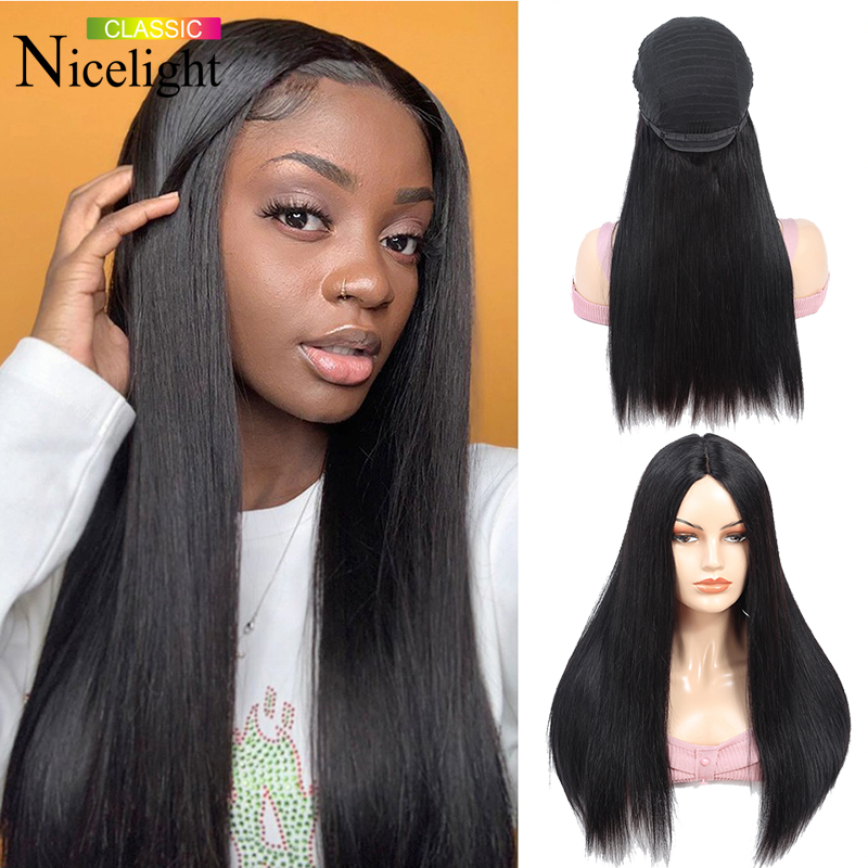 Nicelight 2x4 U Part Frontal Wig Straight Lace Front Human Hair Wigs Straight Malaysian Pre Plucked Natural Hairline Remy Hair