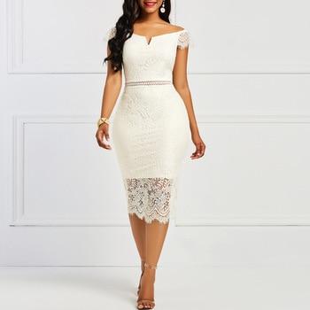 Женское винтажное кружевное платье с V-образным вырезом 3