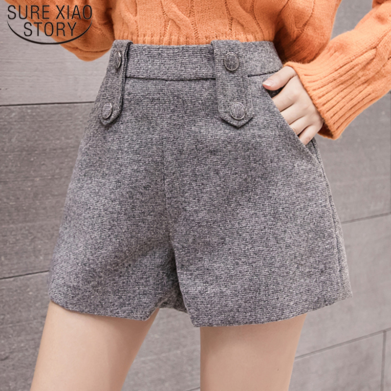 2019 High Waist Shorts For Women Button Pockets Winter Women Shorts  Solid Casual Button  Womens Shorts Wide Leg Pants 7786 50