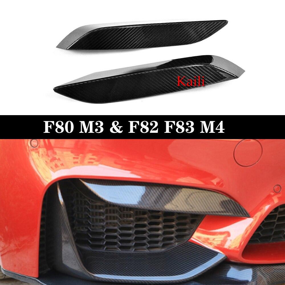 2x Carbon Fiber Front Bumper Side Splitter Canard Lip For BMW F80 M3 F82 F83 M4
