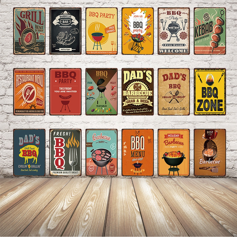BBQ/Time Zone/Dads Grill/Menu Vintage Chic Metal Sign Tin Poster Home Courtyard Restaurant Bar Wall Decor Wall Art Painting