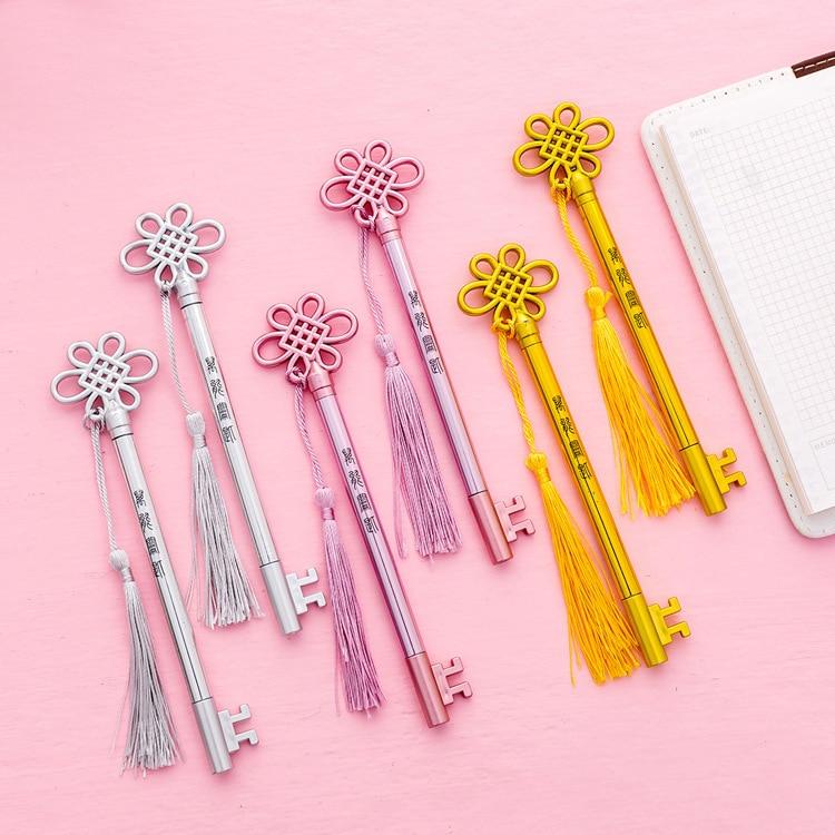 Creative Chinese Knot Key Neutral Pen Fashion Retro tasseled Pendant Signature Pen Cute Students Use Black Pen