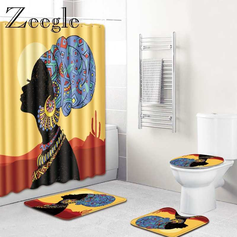 Conjunto de alfombrilla de baño para mujer africana con cortina de ducha alfombra de baño antideslizante alfombra de baño alfombrilla para piso para baño alfombra de pie alfombra de Pedestal
