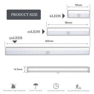 Image 5 - Lâmpada led com sensor de movimento pir, luz de baixo de armário, 6/10/20leds, para guarda roupa, armário luz noturna da cozinha