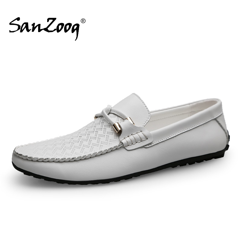 Genuine Leather Slip On Breathable Casual White Men Loafers Summer Solid Black Lofer Shoes Man Moccasins Driving Brand Desginer