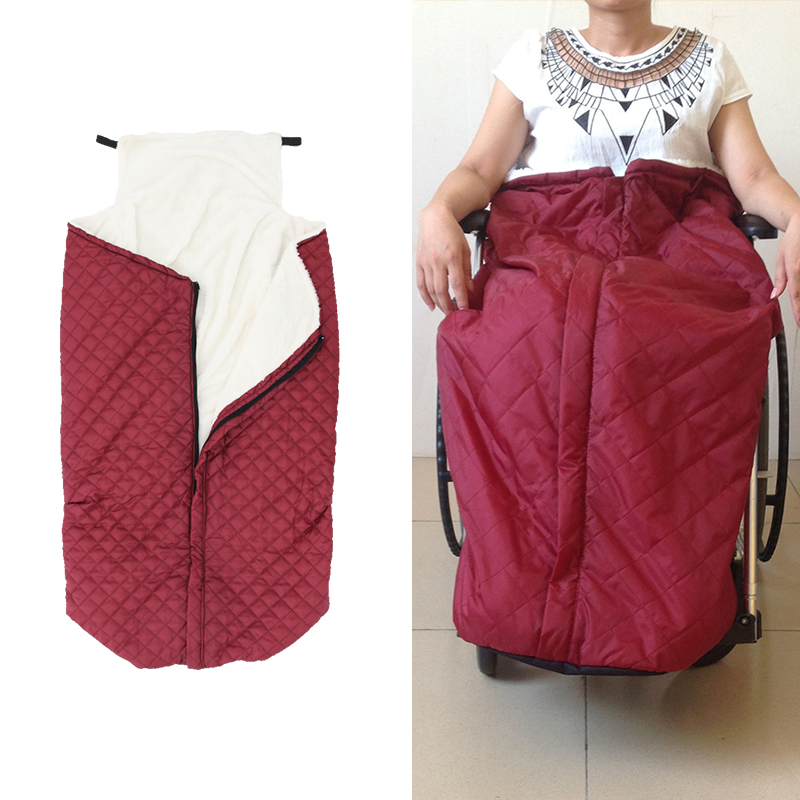 Plush Fleece Lining Wheelchair Warmer Cover Wheel Chair Blanket Winter Leg Foot Back Warm Bag For Disabled Senior Elderly