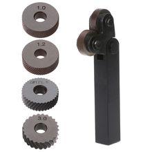 цена на 2pcs Steel Dual Wheel Diagonal Linear Knurl Wheels Knurling Knurler Tool 1.0/1.2/1.8/3.0mm Pitch Linear Pitch Knurl Set