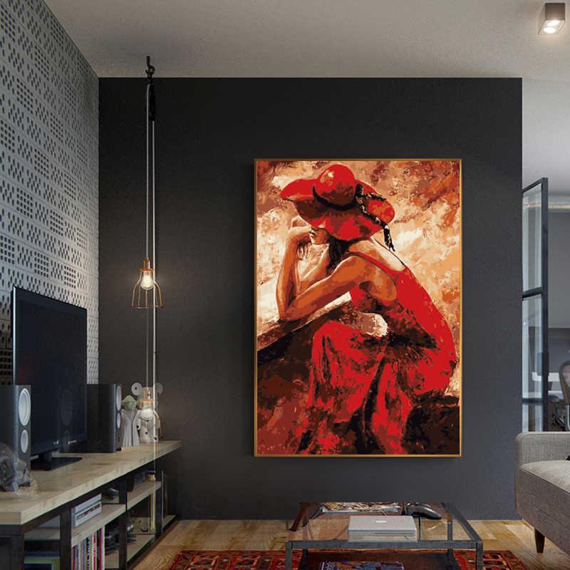 LZN красное платье женская живопись, каллиграфия Рисование по номерам на холсте фотографии на стене картины ручной работы домашний декор