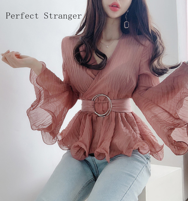 2020 Summer New Arrival Elegant V Collar Pleated Flare Sleeve Collect Waist Woman Chiffon Blouse