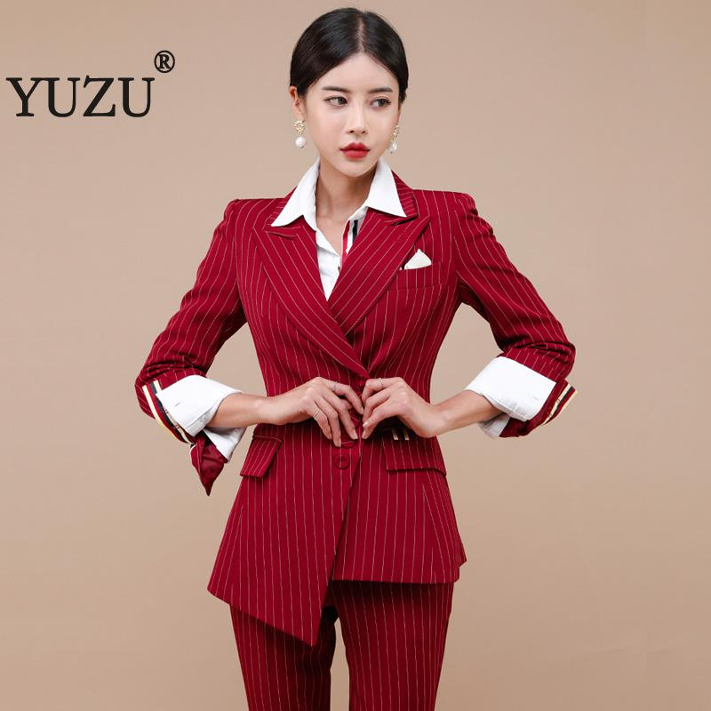 Pant Suits For Women Winter Red Stripe Blazer 2 Piece Set Oblique Single Breasted Formal Office Work Jacket Outwear Clothes