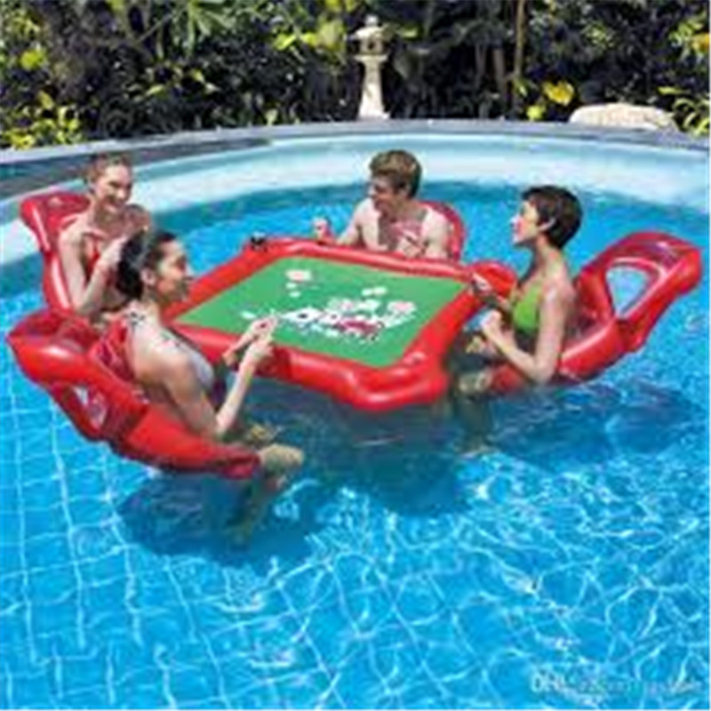 Inflatable Water Toys Swimming Pool Play Cards Game Inflatable Float Leisure Entertainment Outdoor Desk Tables Chairs Full Sets