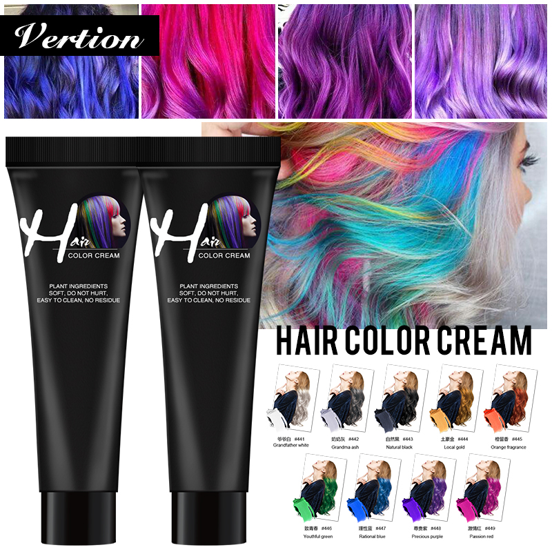 Verntion Temporary Color Wax For Men DIY One-time Paste Molding Cream Hair Dye Gel For Hair Coloring Styling Women Hair Dye Gel