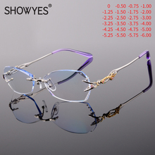 Elegant Style Blue Light Blocking Myopia Glasses Women Computer Eyeglasses Gradient Purple with Rhinestone Frameless Eye Eyewear