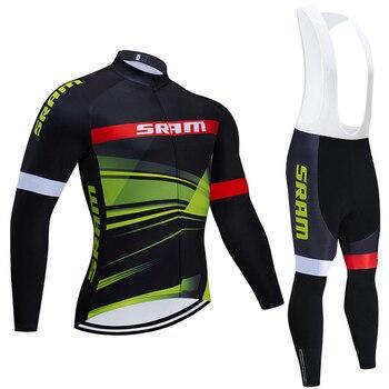 Sram team-Camiseta de manga larga para ciclismo, conjunto de pantalones para hombre,...