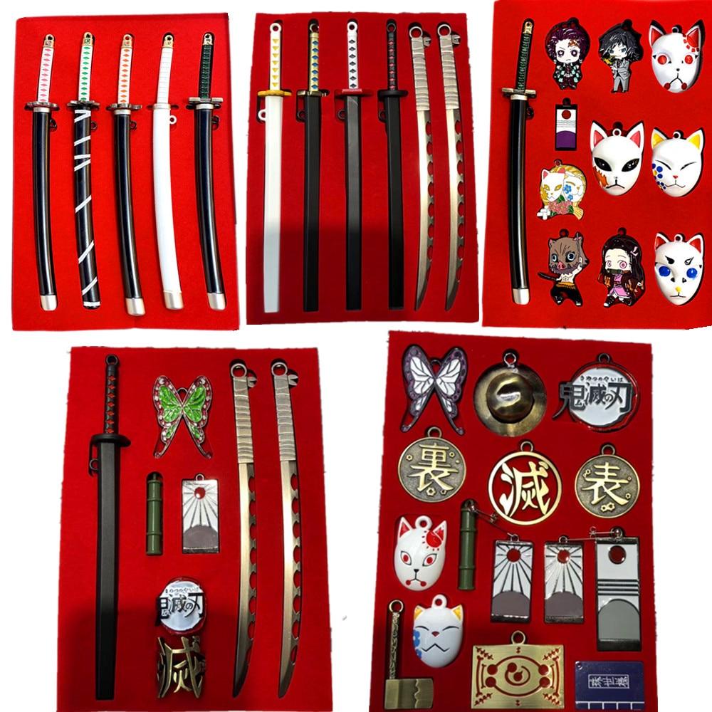 Demon Slayer Sword Keychain Action Figures Toys Ghost Blade Anime Kimetsu No Yaiba Tanjirou Nezuko Weapon Cosplay Figurine Toy