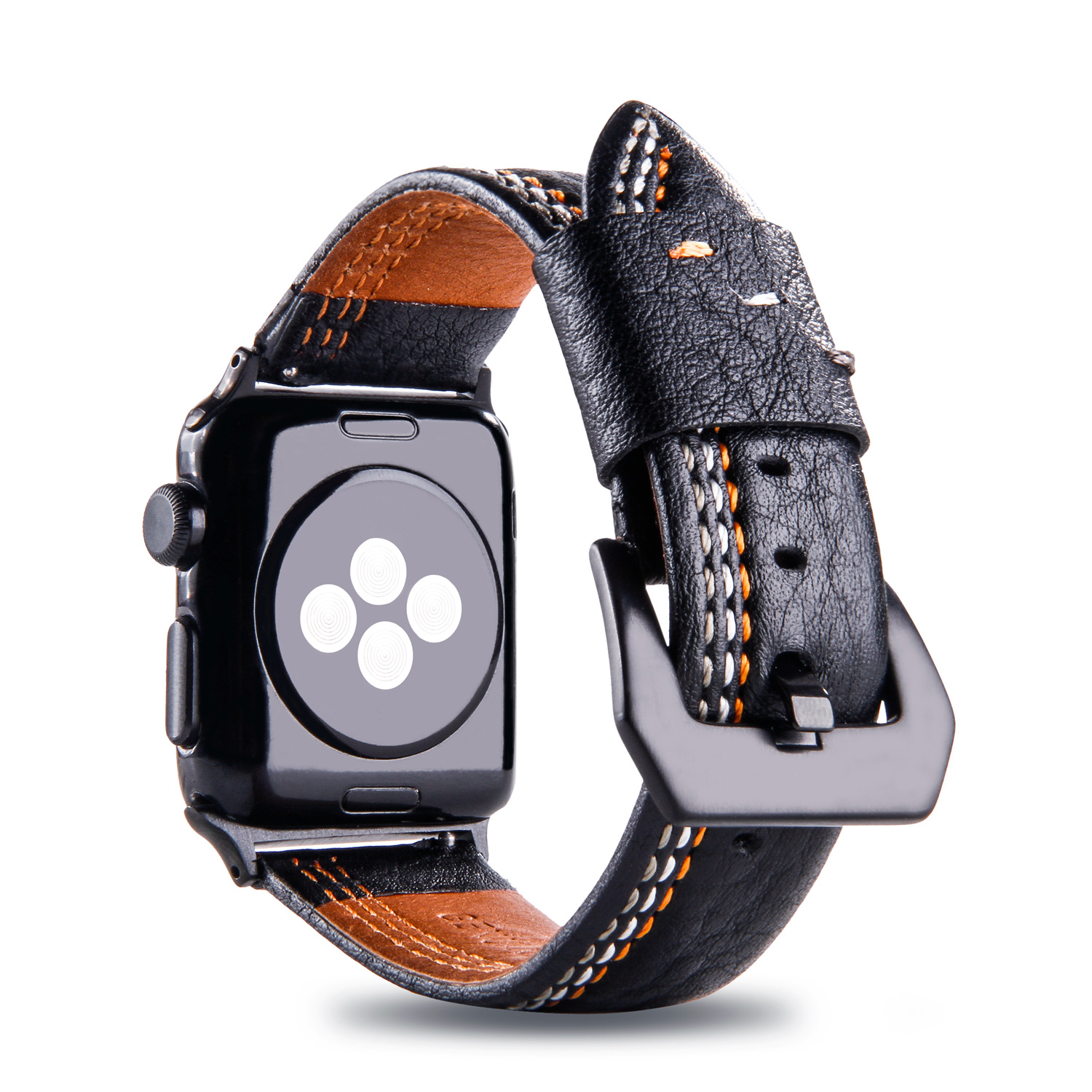Foreign Trade Top Grade New Style For Apple APPLE Watch Leather Watch Strap IWatch Cowhide Three Lines Watch Strap