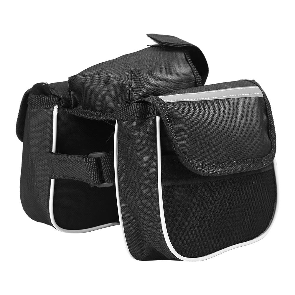 MTB Bicycle Front Tube Frame Bag Polyester Black Mountain <font><b>Bike</b></font> Wear Resistant Phone <font><b>Case</b></font> Saddle Bags Cycling Supplies image