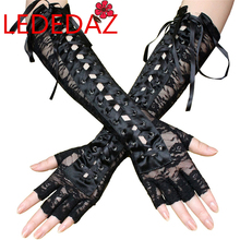 Sexy Women Long Black Lace Gloves Fingerless Gothic Gloves
