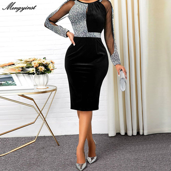 Summer Autumn Dress Women 2021 Casual Plus Size Mesh Long Sleeve Office Lady Sequined Vintage Sexy Party Dresses Bodycon Dress autumn summer new women shirt dress long sleeved female dresses slim fashion party office lady sundress plus size casual rob