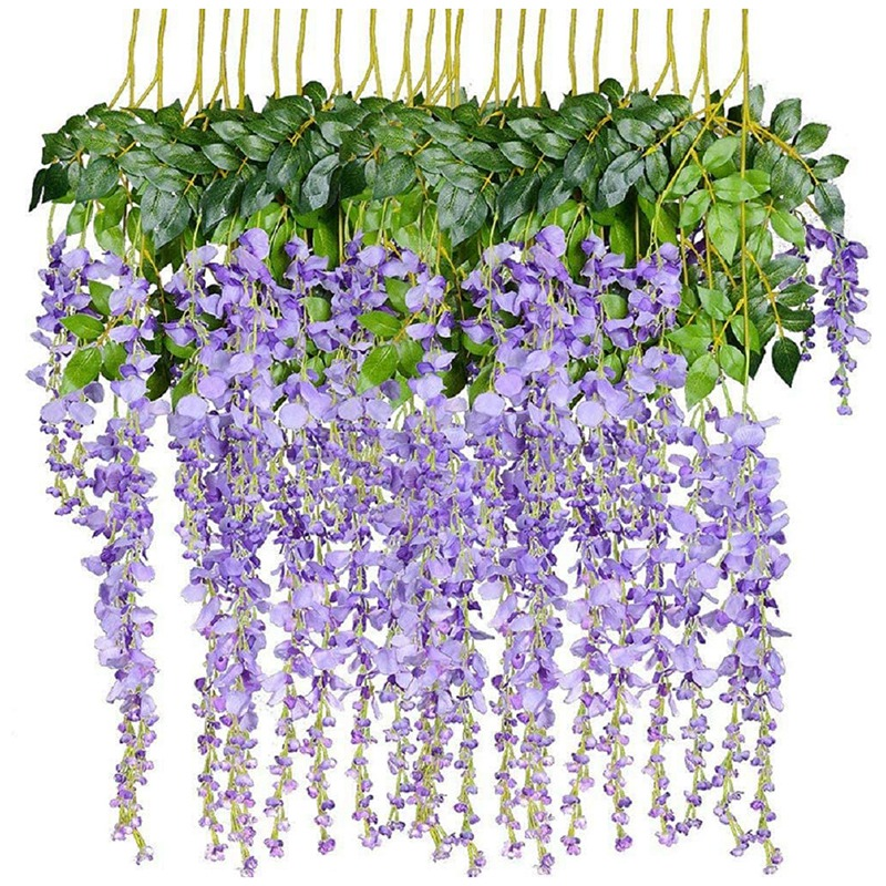 12 Pack 3.6 Feet Artificial Fake Wisteria Vine Rattan Hanging Garland Silk Flowers String Home Party Wedding Decor