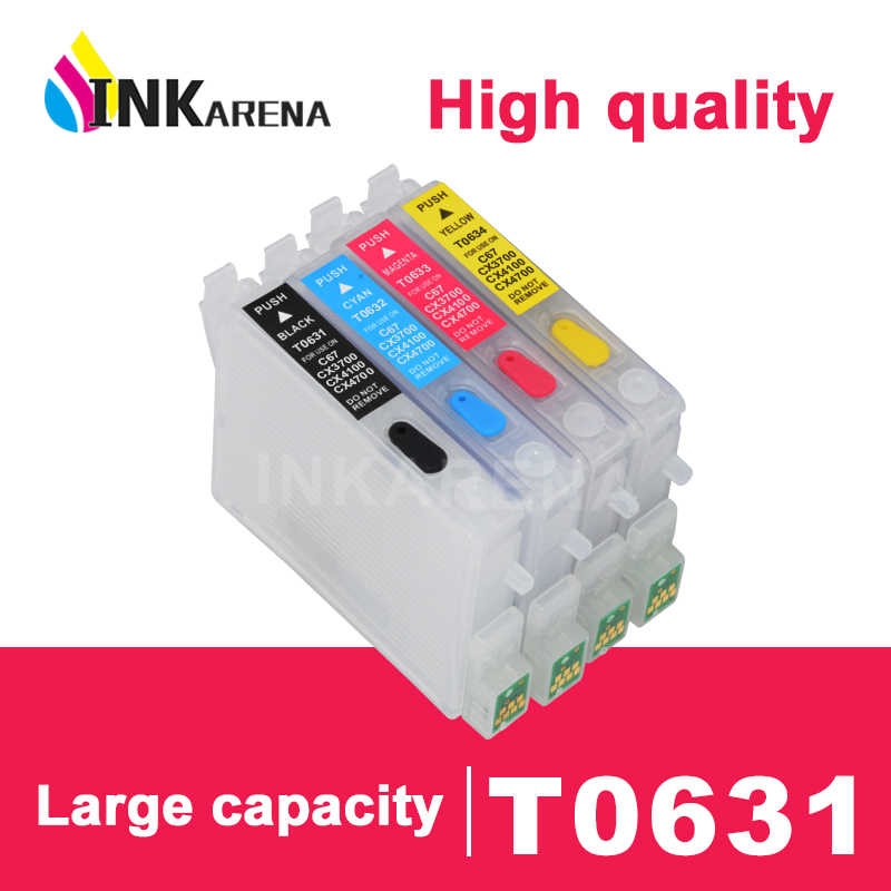 Inkarena Ink Cartridge T0631 untuk Epson Stylus 0631 C67 C87 Plus CX3700 CX4100 CX4700 CX5700F CX7700 Printer Printer Kit