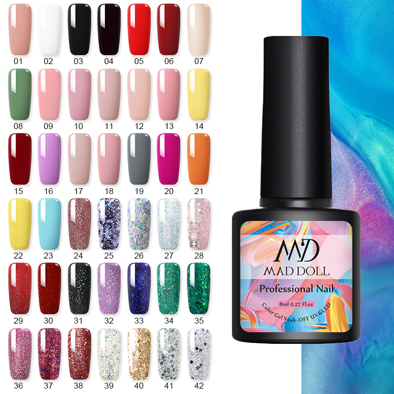 8ml UV Gel Nail Polish Summer Color Gel Polish Soak Off Nude Gel Varnish Nail Art Vernis Manicuring Semi Permanant 42 Colors