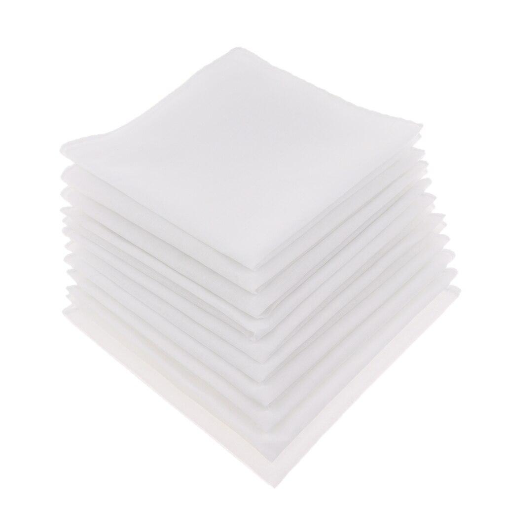 10 Pieces White Cotton Handkerchief  Women/ladies Wedding Blank Hankies Child Diy Draw Pocket Square носовые платки