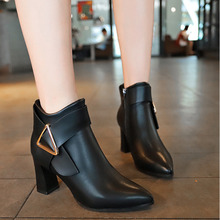 2019 Fashion Women Boots Casual Leather Low High Heels Spring Shoes Woman Pointed Toe Rubber Ankle Boots Black Red Zapatos Mujer prova perfetto new style pointed toe mid heels boots zapatos mujer tacon ankle boots real leather buckle woman chelsea boots