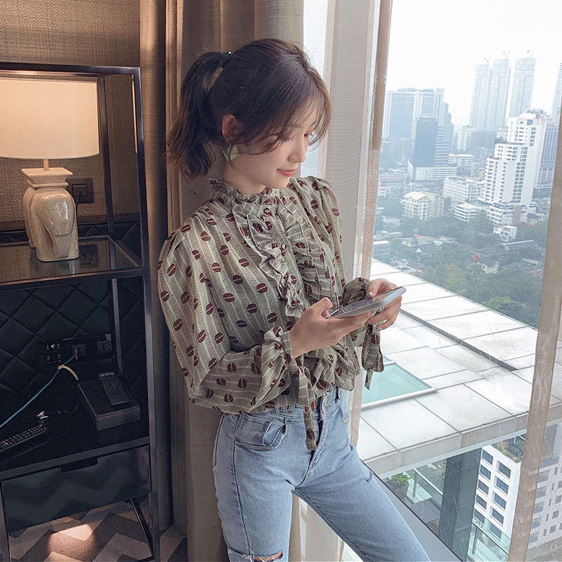 MISHOW 2020 Spring New Women's Casual Chiffon Blouses Long Sleeve Vintage Tops Female Shirt MX20A4491