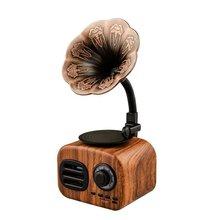 Mini Altavoz Bluetooth portátil de madera Retro altavoz inalámbrico sistema de sonido de altavoz al aire libre TF FM Radio música Subwoofer