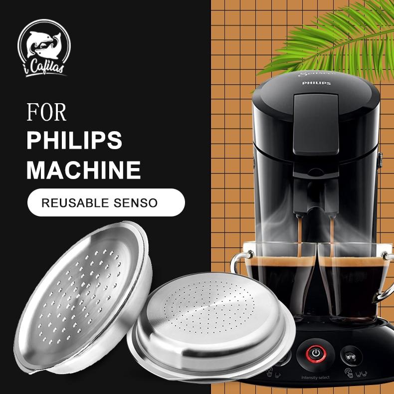 Стальные многоразовые капсулы ICafilas для фильтра для кофе, эспрессо, совместимы с машинкой Philips