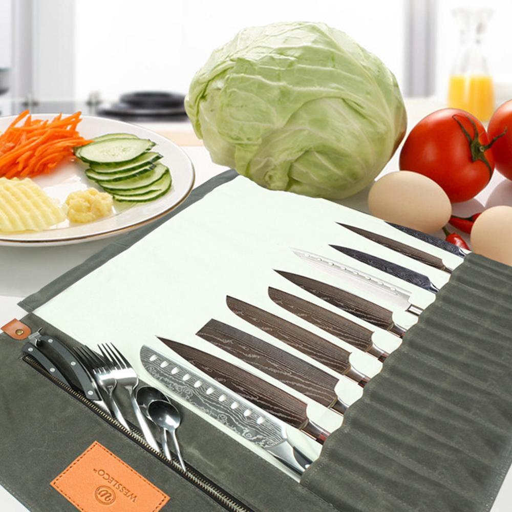 Portable Chef Knife Bag Roll Bag Western Food Cutter Roll Bag Knife Case Durable Knife Bags For Chefs Kitchen Knife Organizer