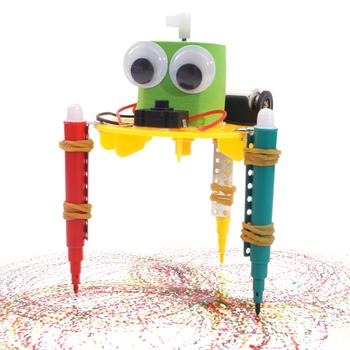 Wczesna nauka DIY Doodle Robot technologia małe wynalazki edukacyjne zabawki dla dzieci podstawowy i wtórny eksperyment naukowy tanie i dobre opinie Byfa Z tworzywa sztucznego Q versin Roboty Unisex Model building kits 3 lat