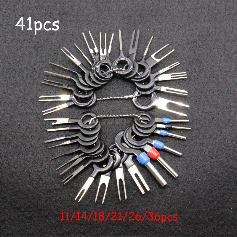 36/ 41pcs Car Terminal Removal Kit Wiring Crimp Connector Pin Extractor Puller Terminal Repair Professional Tools