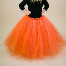 Оранжевая Рождественская юбка-пачка для девочек; Длинные Пышные фатиновые юбки для девочек; юбка-пачка для дня рождения; детская бальная юбка принцессы