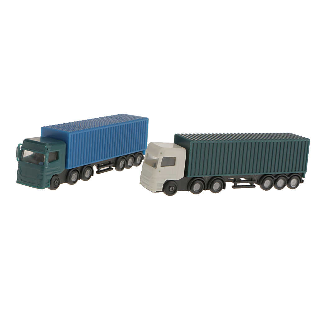 2 Pcs Container Truck Construction Vehicle Cars Lorry Model Figure N Scale