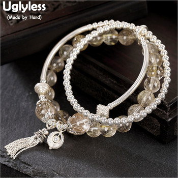 Uglyless Elastic Rope 3 Layers Infinity Bracelets for Women Real 925 Silver Balls Beading Bracelets Crystals Fine Jewelry BR242