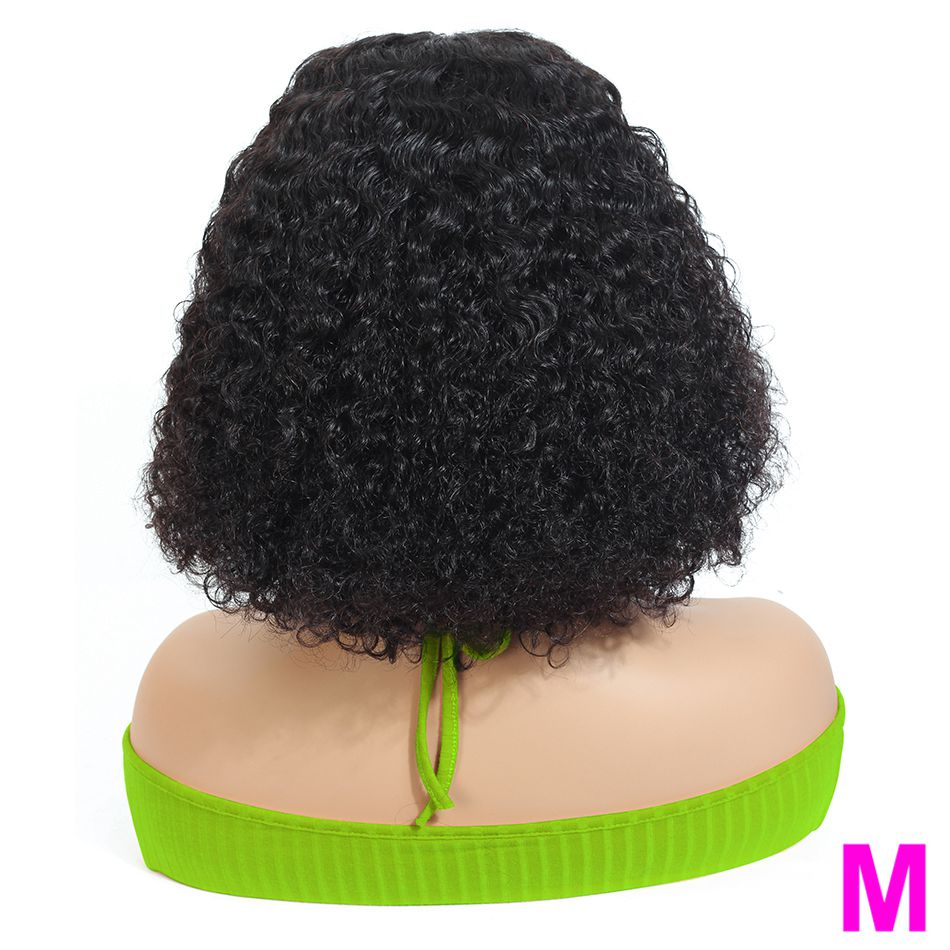 Afro Peruvian Short Kinky Curly Bob Wigs Lace Front Human Hair Wigs With Baby Hair For Women Non-Remy Middle Ratio 130% 13×4 Wig