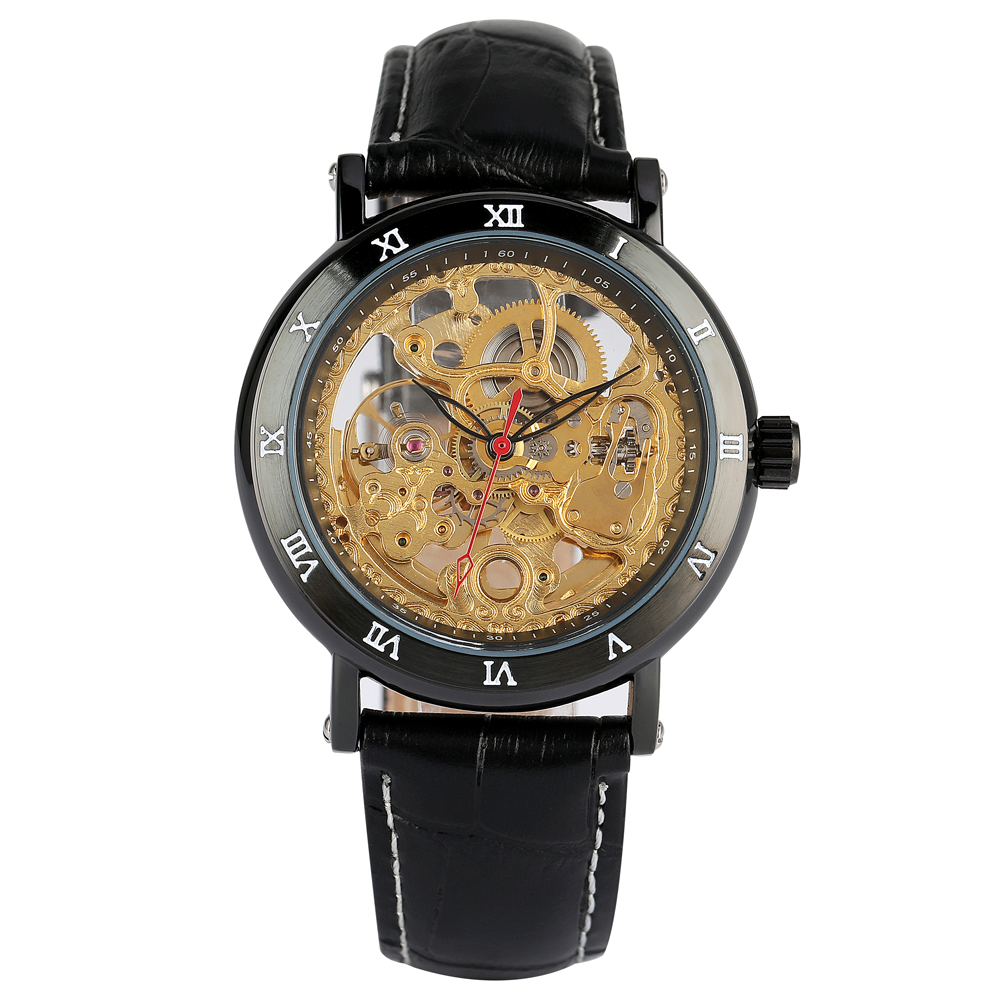 Automatic Mechanical Watch Men Hollow Out Wristwatch Male Top Brand Luxury Leather Strap Mechanical Watches relogio masculino