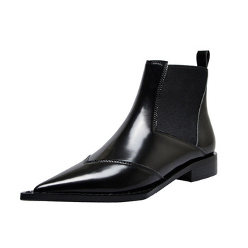 soerben black pu ankle boots plus size boots women high thin heels pointed toe zipper zapatos mujer bottine femme real boot Real Leather Women Ankle Boots Plus Size Pointed Toe Women Motorcycle Boots Slip-on Low Heels Black Shoes Female Botas Mujer