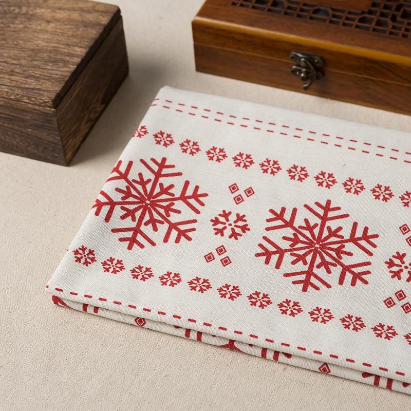 100*150cm Linen Fabric Christmas Snowflake Printing Cloth Household Pillowcase Desktop Sofa Cloth Linen Background Decoration