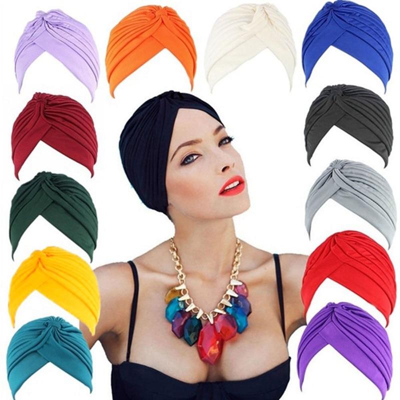 2021 Hot Bandanas Women Stretchy Turban Muslim Hat Headband Warp Female Chemo Hijab Knotted Indian Cap Adult Head Wrap for Women