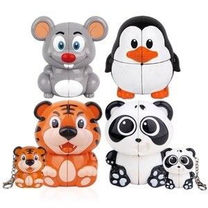 Животные куб головоломка панда Тигр мышь Пингвин стресс игрушки магические кубики детские игрушки брелок необычная форма волшебный куб ан...