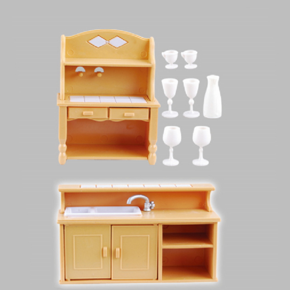 Gift Plastic DIY Doll House Furniture Set Home Decoration Vintage Toy Miniature Children Kids Kitchen Pretend Play Accessories